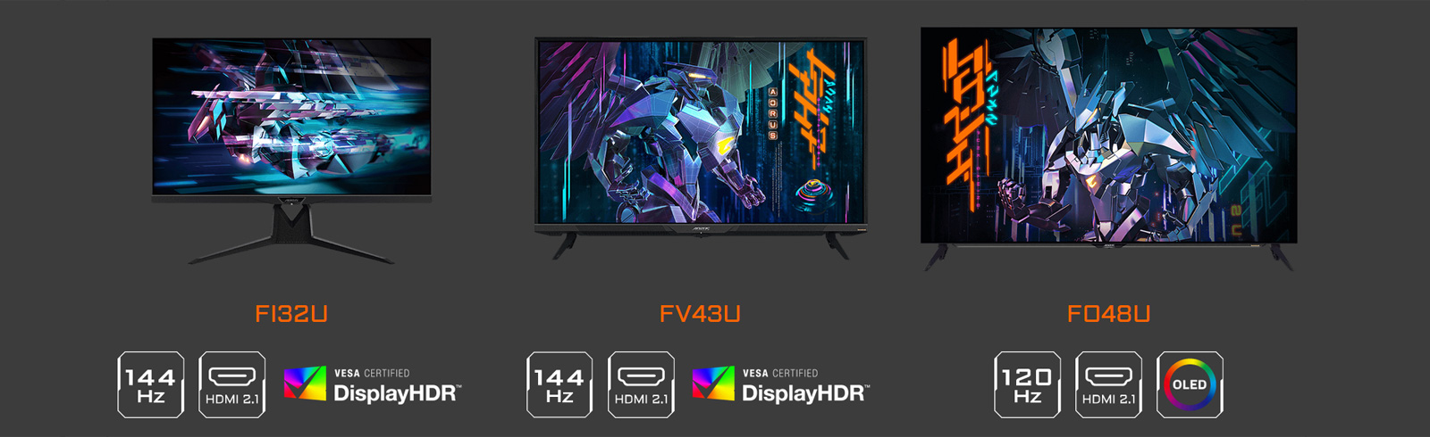 Gigabyte FI32U, FV43U, and FO48U AORUS 4K monitors are fully suited for console gaming