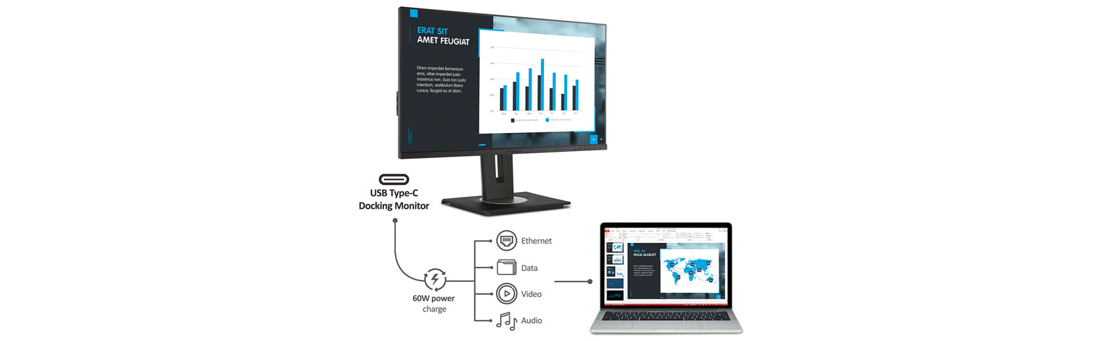 """ViewSonic VG2456 is a 24"""" docking monitor with USB Type-C and Ethernet"""