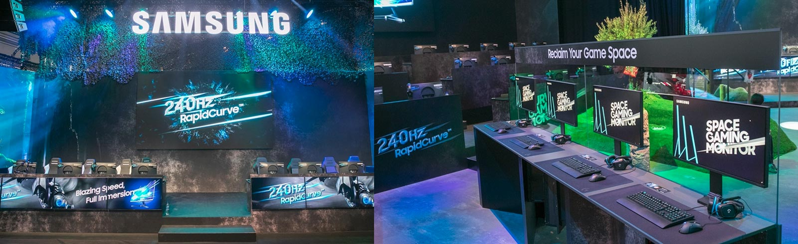 "Samsung showcases the 27"" CRG5, the 49"" CRG9 and the 32"" Space Gaming monitors at Gamescom 2019"