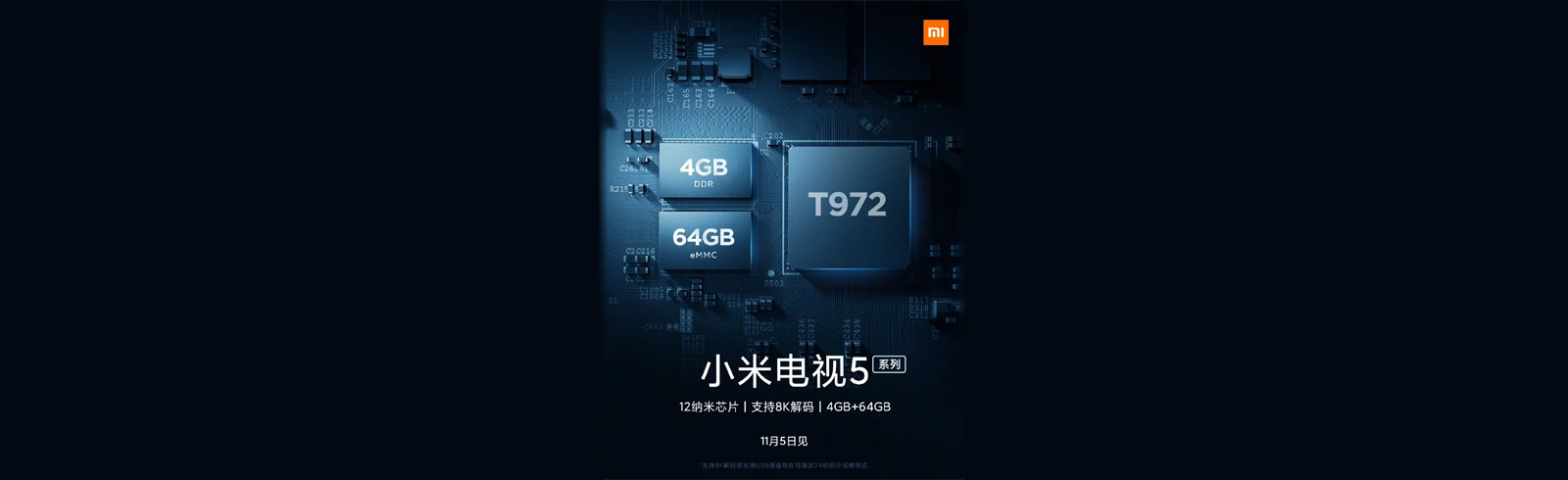 Xiaomi Mi TV 5 will pack a T972 chipset, 4GB of RAM, 64GB of storage