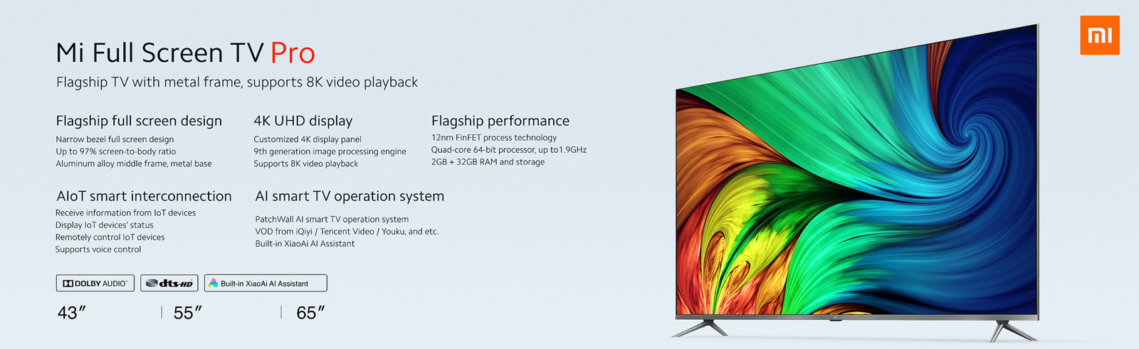 Xiaomi introduces the 4K Mi Full-Screen TV Pro with 8K support