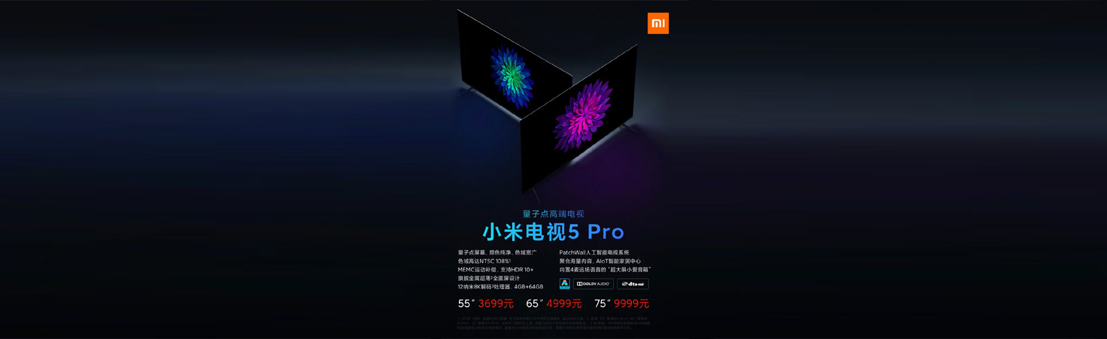 The Xiaomi Mi TV 5 Pro series is announced, arrives in three sizes with 8K-decoding QLED panels